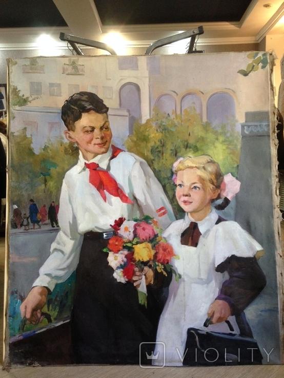 Соцреализм Первый раз-в первый класс ! 1950 е гг,, фото №6