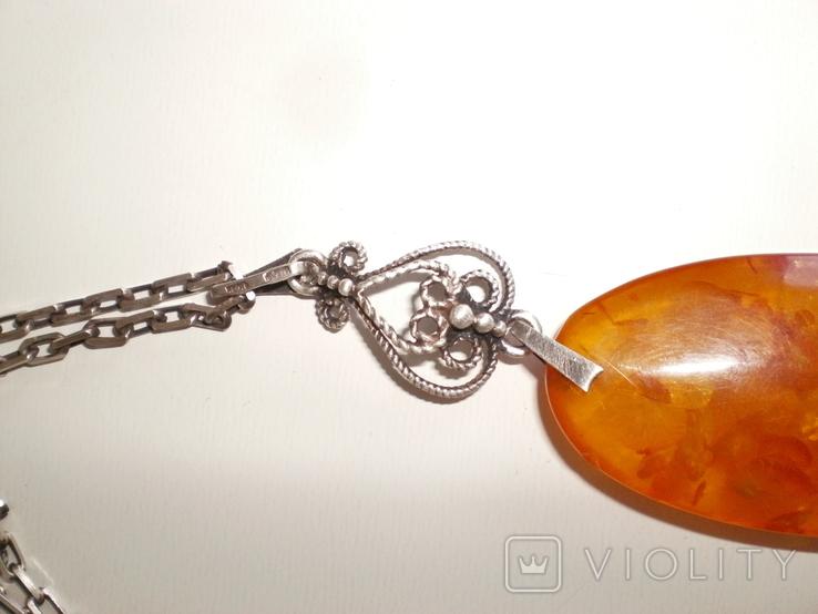 Янтарь подвеска, кулон на серебряной цепочке, фото №5