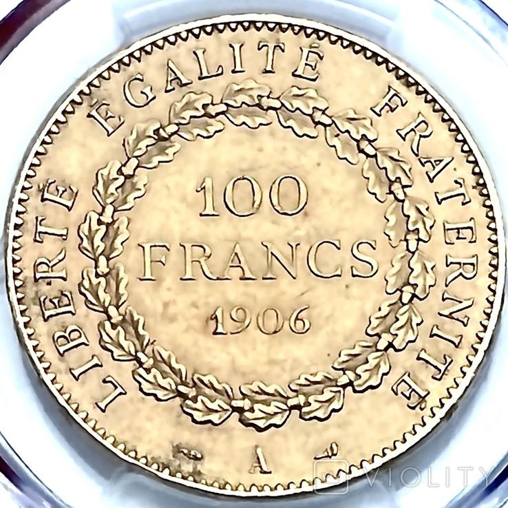 """100 франков. 1906. """"Золотой ангел"""" Франция. слаб PCGS (золото 900, вес 32,25 г), фото №6"""