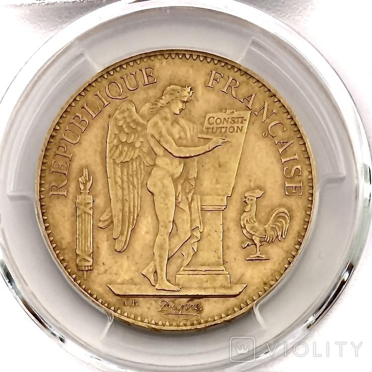 """100 франков. 1906. """"Золотой ангел"""" Франция. слаб PCGS (золото 900, вес 32,25 г), фото №7"""