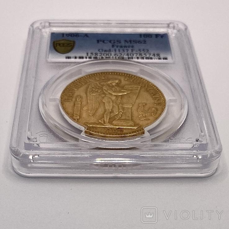 """100 франков. 1906. """"Золотой ангел"""" Франция. слаб PCGS (золото 900, вес 32,25 г), фото №9"""