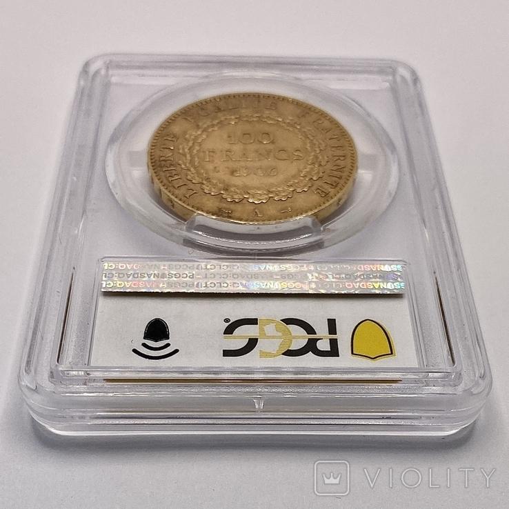 """100 франков. 1906. """"Золотой ангел"""" Франция. слаб PCGS (золото 900, вес 32,25 г), фото №10"""