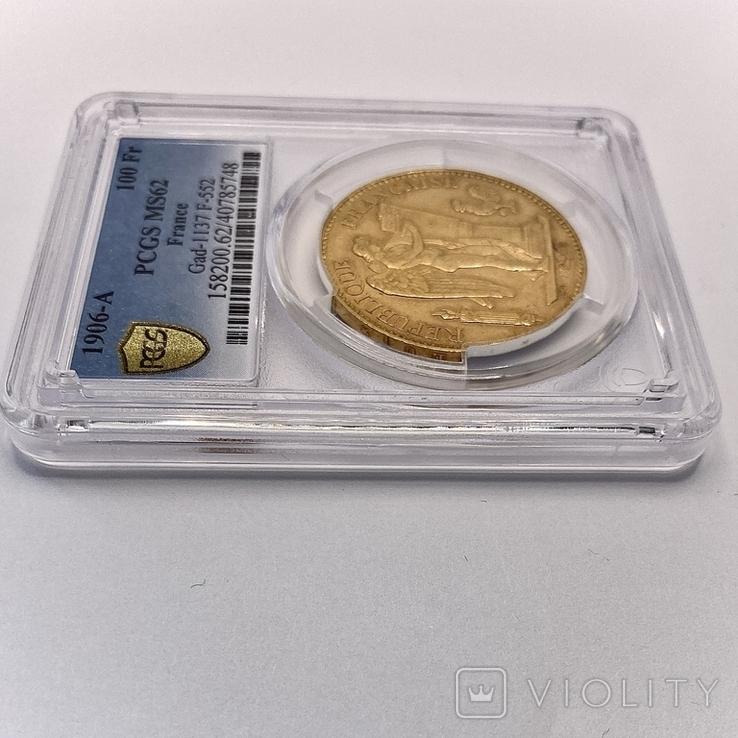 """100 франков. 1906. """"Золотой ангел"""" Франция. слаб PCGS (золото 900, вес 32,25 г), фото №12"""