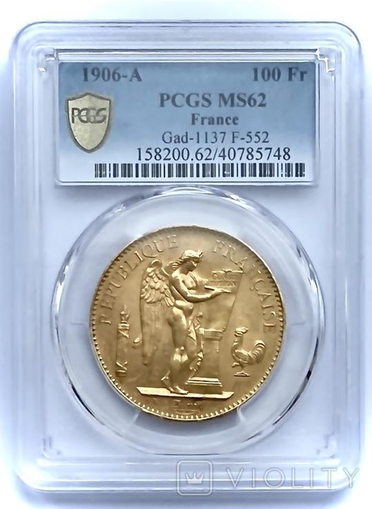 """100 франков. 1906. """"Золотой ангел"""" Франция. слаб PCGS (золото 900, вес 32,25 г), фото №2"""
