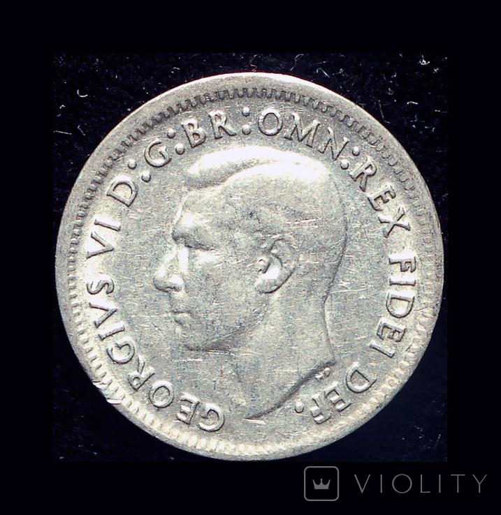 Австралия 3 пенни 1951 серебро, фото №2