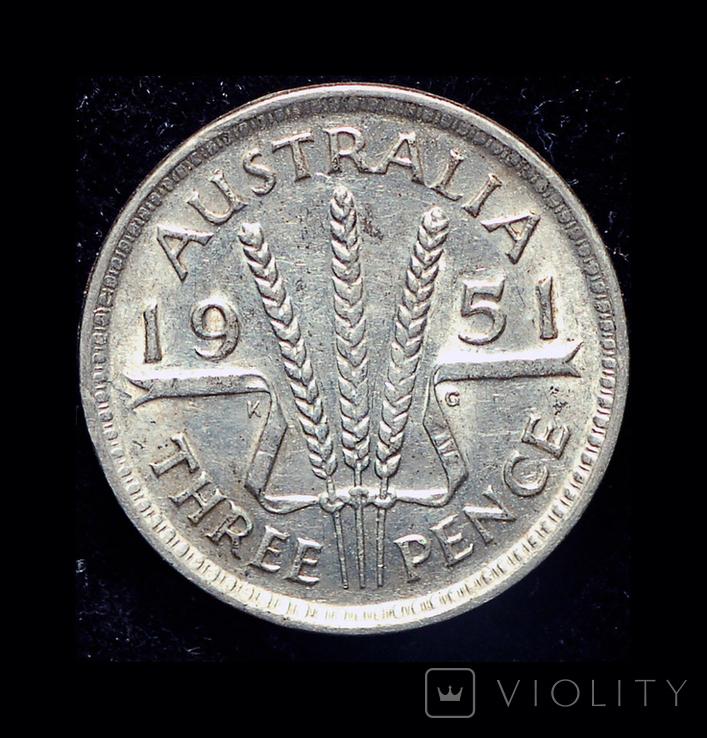 Австралия 3 пенни 1951 серебро, фото №3