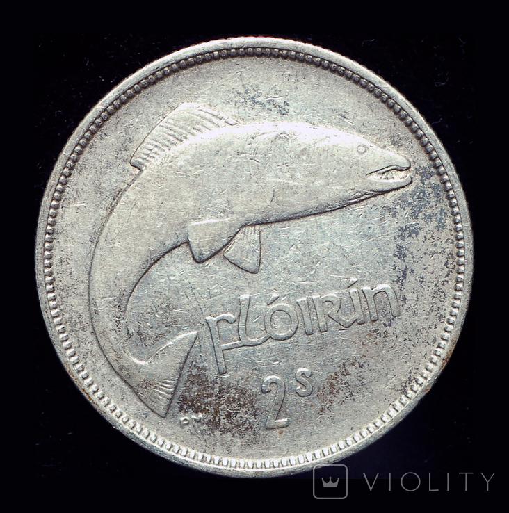 Ирландия флорин 1937 серебро редкий год, фото №3
