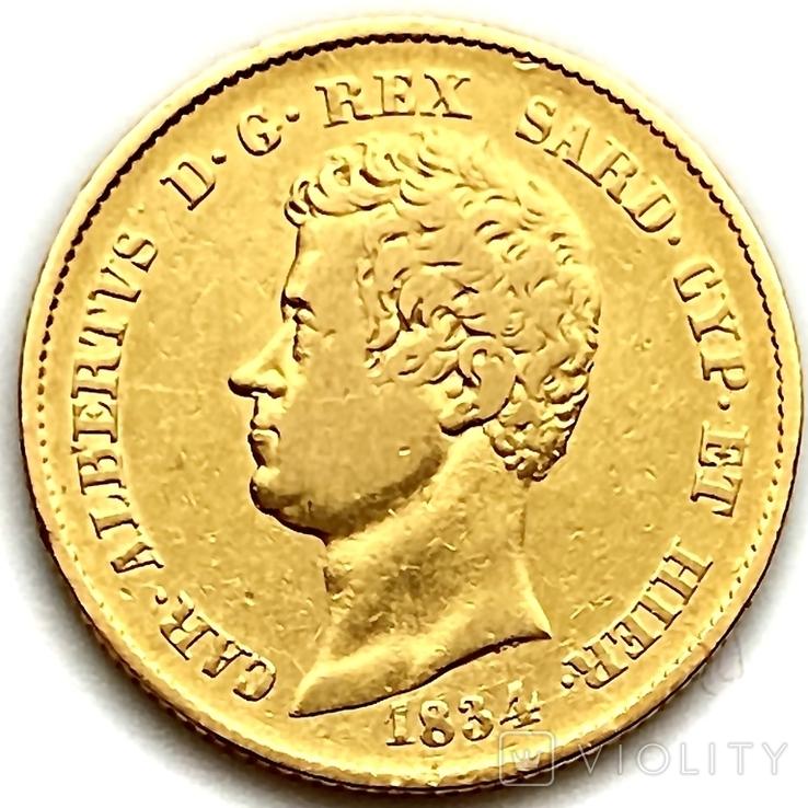 20 лир. 1834. Карл Альберт. Сардиния (золото 900, вес 6,40 г), фото №2