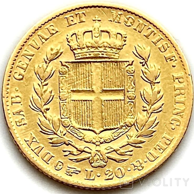 20 лир. 1834. Карл Альберт. Сардиния (золото 900, вес 6,40 г), фото №5