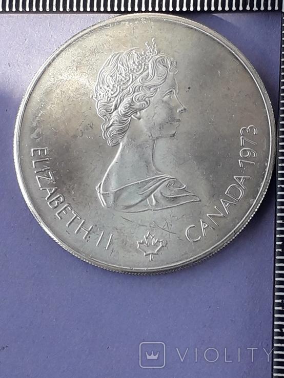 5 долларов, Канада, 1973 г., Олимпийские игры, карта Канады, серебро 0.925, 24.3 грамма, фото №2
