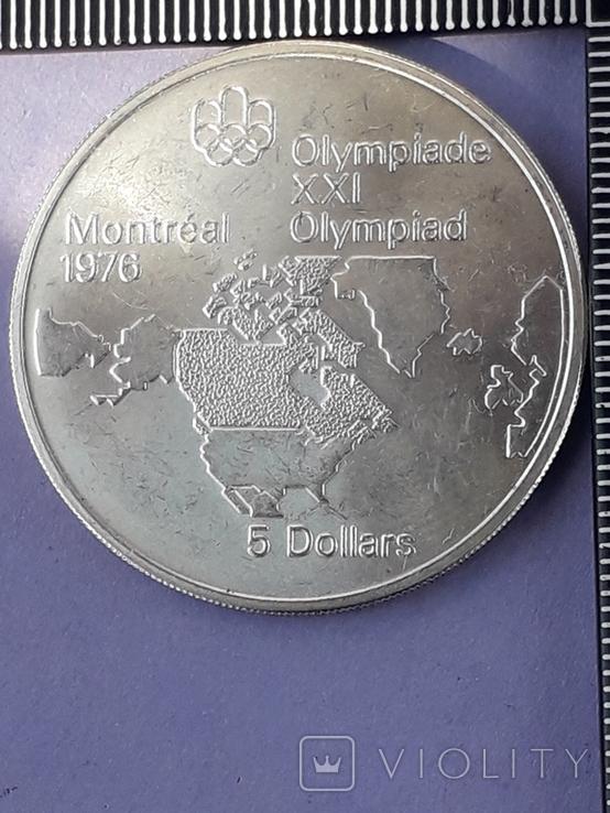 5 долларов, Канада, 1973 г., Олимпийские игры, карта Канады, серебро 0.925, 24.3 грамма, фото №4