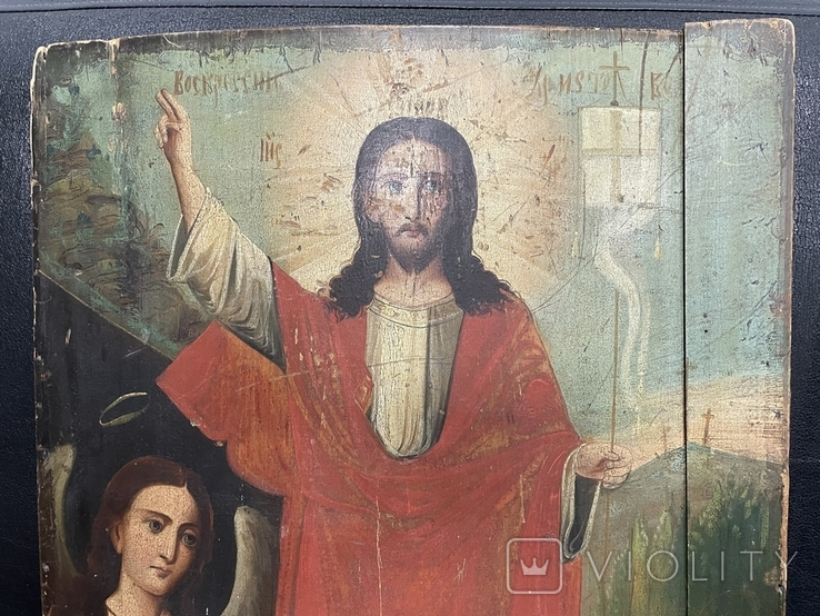 """Древняя икона """"Воскресение"""" под реставрацию, фото №4"""