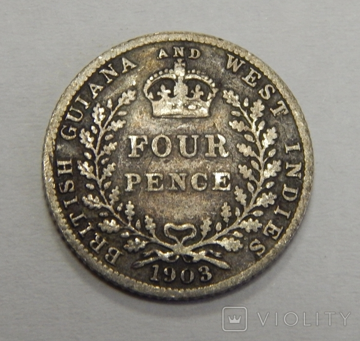 4 пенса, 1903 г Британская Гаяьна, фото №2