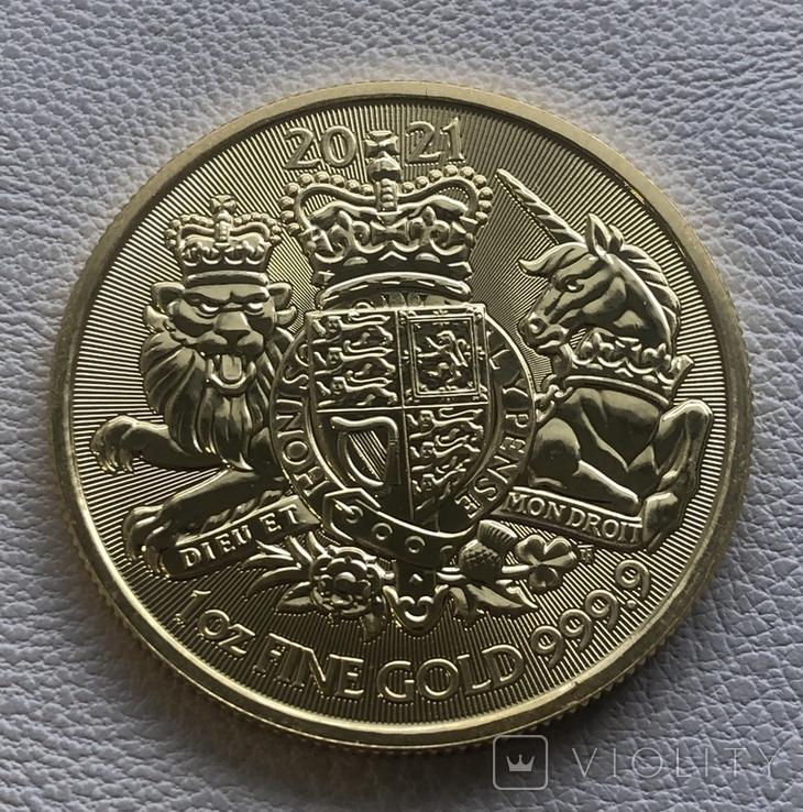 100 фунтов 2021 год Англия золото 21,1 грамм 999,9, фото №2