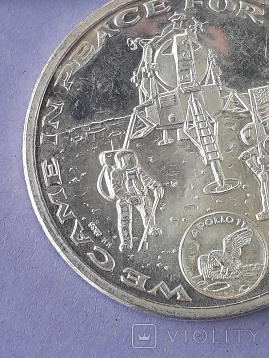 Раунд в честь миссии Аполлон-11, высадки человека на Луну, серебро 0.999, 15 грамм, фото №7