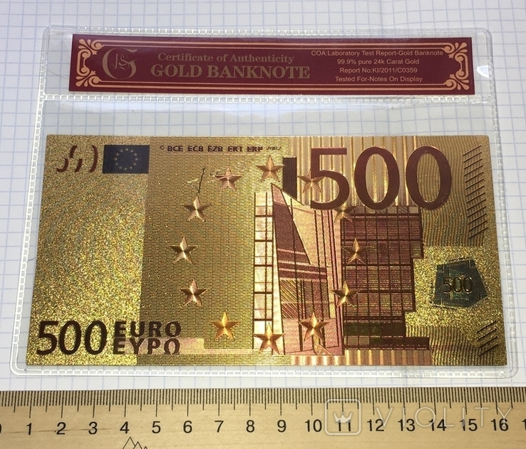 Позолоченная сувенирная банкнота 500 Euro в защитном файле, конверте / сувенір, фото №5