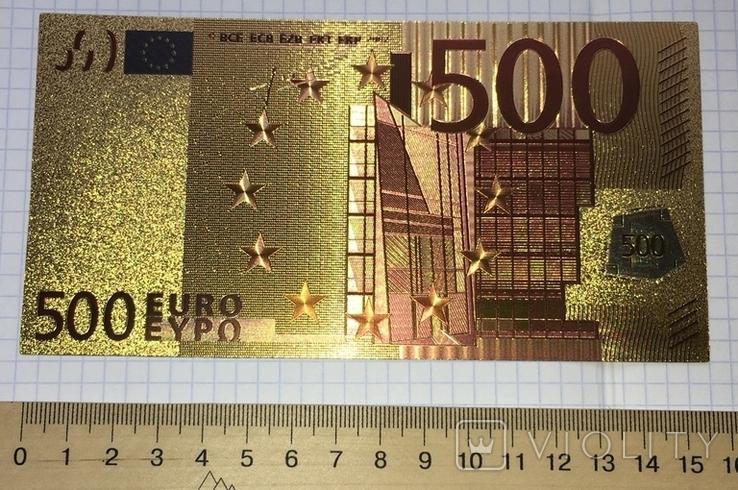 Позолоченная сувенирная банкнота 500 Euro в защитном файле, конверте / сувенір, фото №6