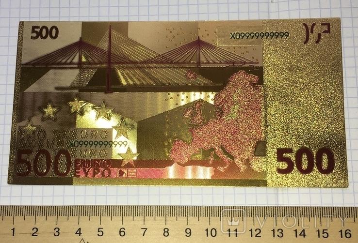 Позолоченная сувенирная банкнота 500 Euro в защитном файле, конверте / сувенір, фото №8