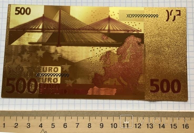 Позолоченная сувенирная банкнота 500 Euro в защитном файле, конверте / сувенір, фото №9