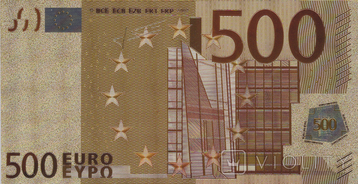 Позолоченная сувенирная банкнота 500 Euro в защитном файле, конверте / сувенір, фото №12