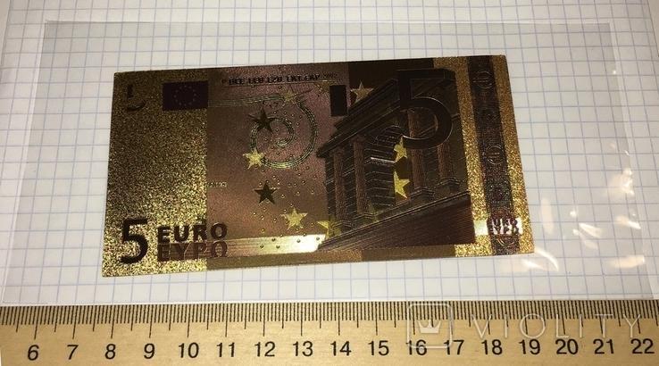Золотая сувенирная банкнота 5 Euro (24K) в защитном файле / золота сувенірна банкнота, фото №3