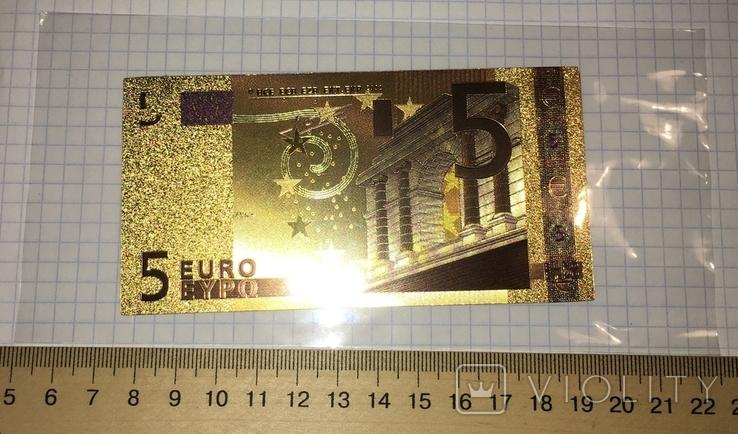Золотая сувенирная банкнота 5 Euro (24K) в защитном файле / золота сувенірна банкнота, фото №4