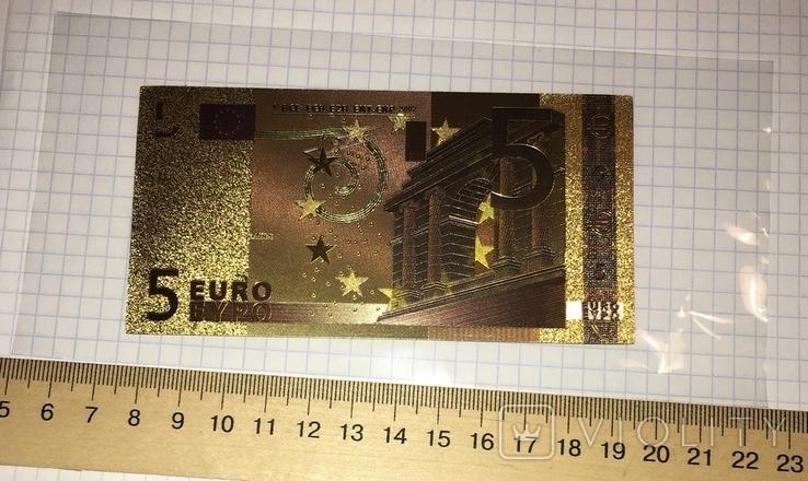 Золотая сувенирная банкнота 5 Euro (24K) в защитном файле / золота сувенірна банкнота, фото №5