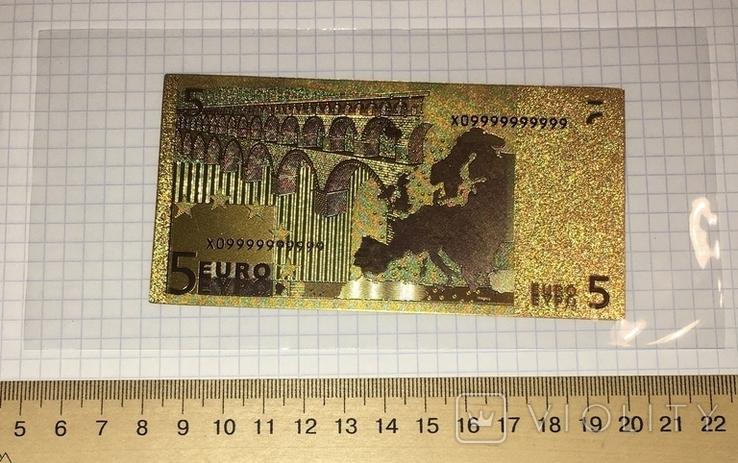 Золотая сувенирная банкнота 5 Euro (24K) в защитном файле / золота сувенірна банкнота, фото №7