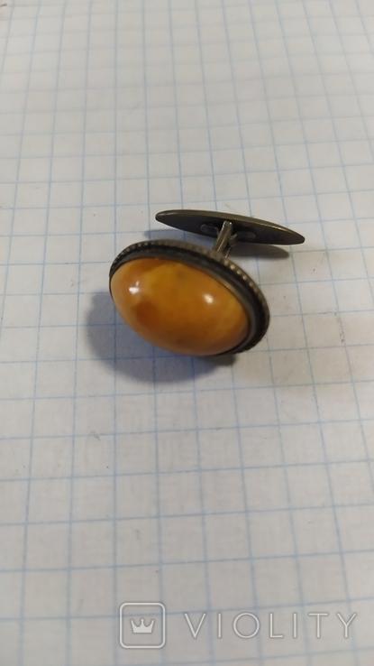 Серебренная запонка 875 с головой. С янтарем., фото №3