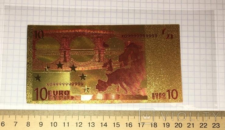 Позолоченная сувенирная банкнота 10 Euro (24K) в защитном файле / сувенір, фото №4