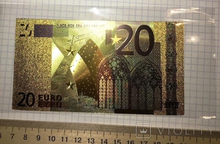Позолоченная сувенирная банкнота 20 Euro (24K) в защитном файле / сувенірна банкнота, фото №2