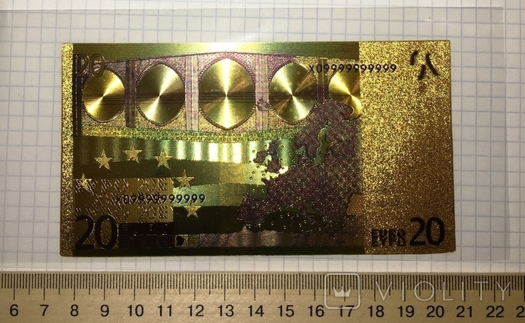 Позолоченная сувенирная банкнота 20 Euro (24K) в защитном файле / сувенірна банкнота, фото №4