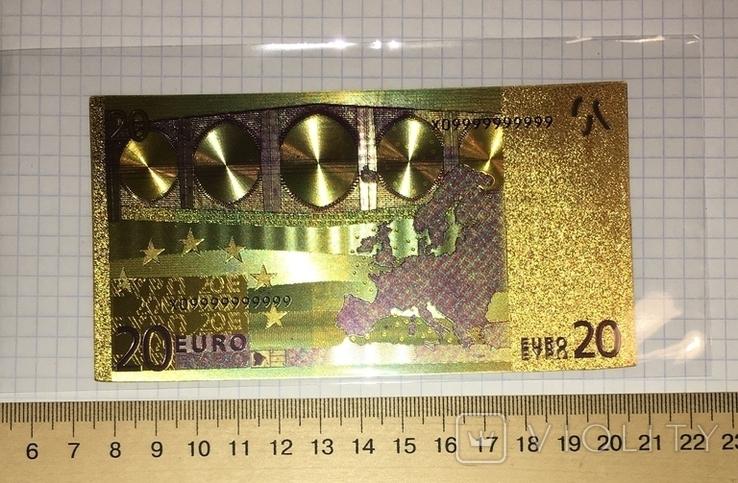 Позолоченная сувенирная банкнота 20 Euro (24K) в защитном файле / сувенірна банкнота, фото №6