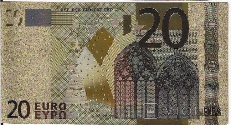Позолоченная сувенирная банкнота 20 Euro (24K) в защитном файле / сувенірна банкнота, фото №7