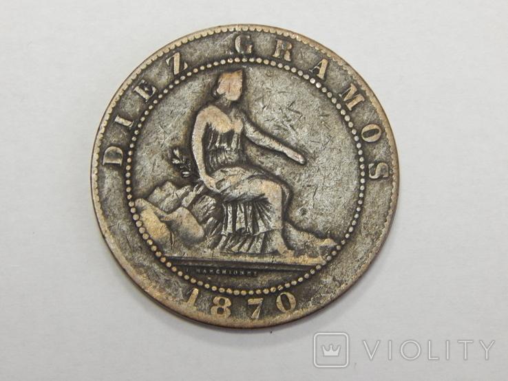 10 центимес, 1870 г Испания, фото №2