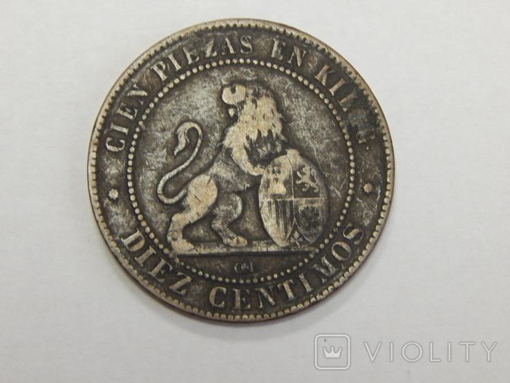 10 центимес, 1870 г Испания, фото №3