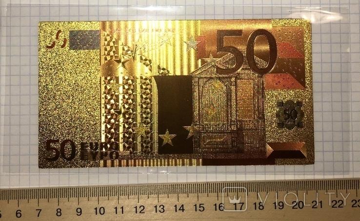 Позолоченная сувенирная банкнота 50 Euro (24K) в защитном файле / сувенірна банкнота, фото №2