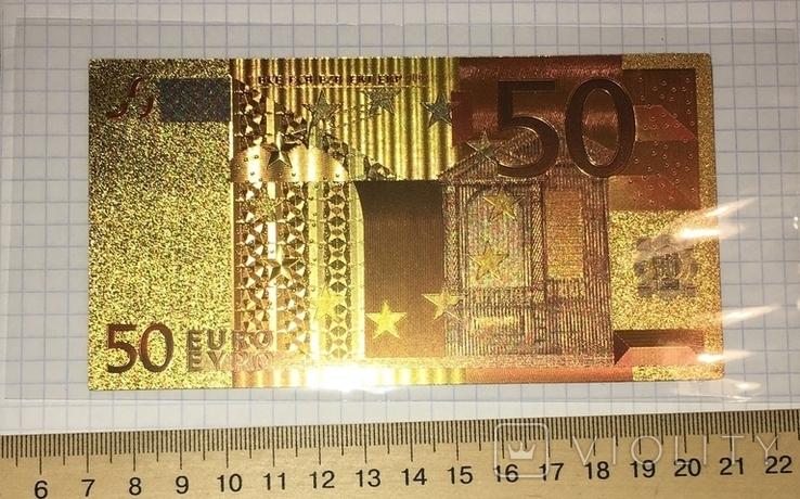 Позолоченная сувенирная банкнота 50 Euro (24K) в защитном файле / сувенірна банкнота, фото №3