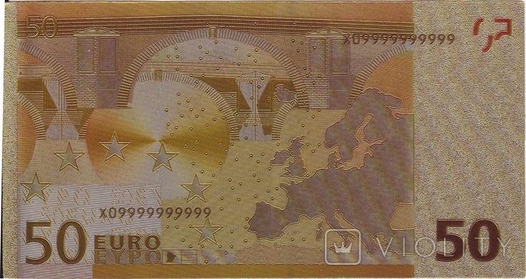 Позолоченная сувенирная банкнота 50 Euro (24K) в защитном файле / сувенірна банкнота, фото №8