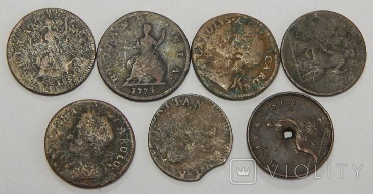 Лот 7 медных монет Великобритании, фото №2