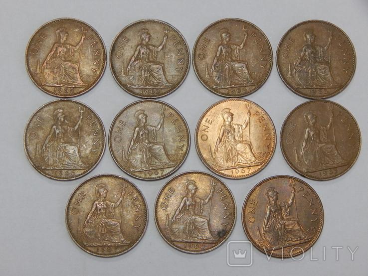 11 монет по 1 пенни, Великобритания, фото №2