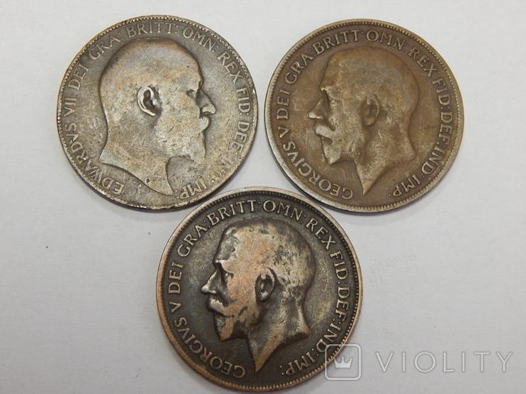 3 монеты по 1 пенни, Великобритания, фото №3