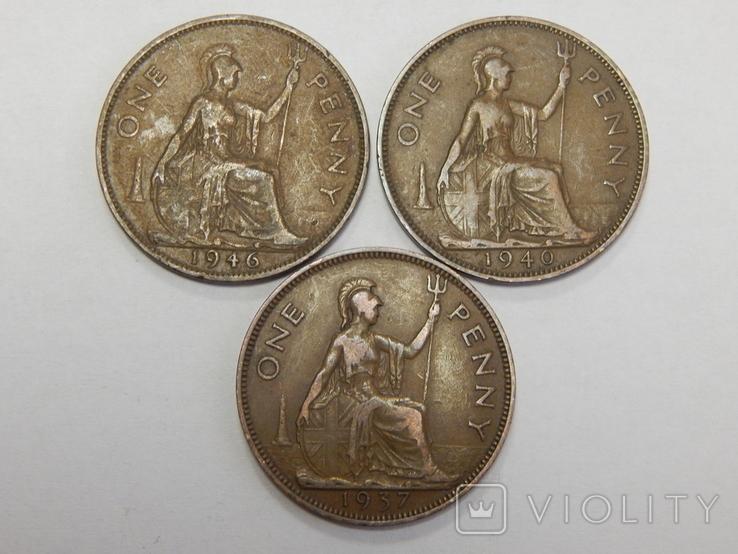 3 монеты по 1 пенни, Великобритания, фото №2