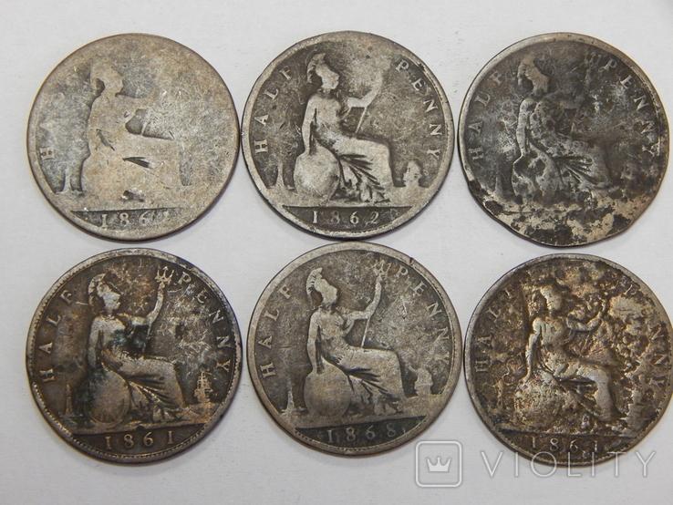 6 монет по 1/2 пенни, Великобритания, фото №2