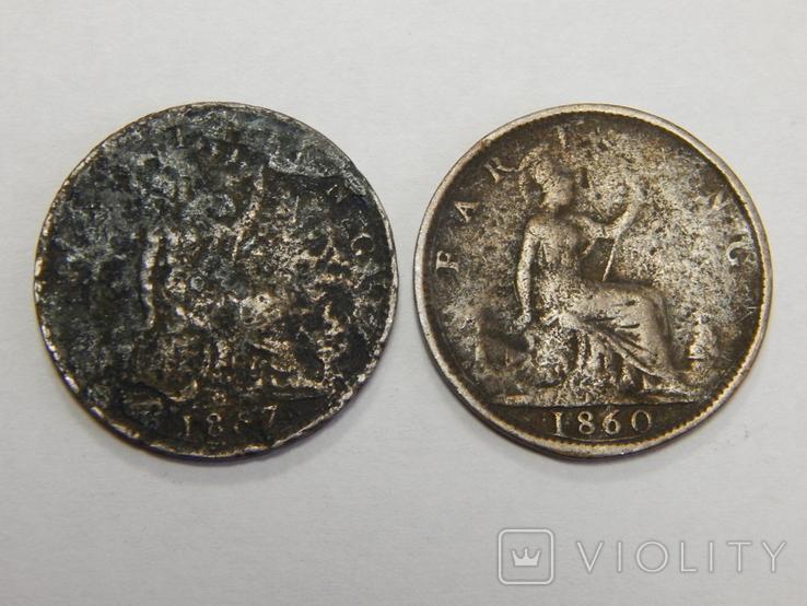 2 монеты по 1 фартингу, Великобритания, фото №2