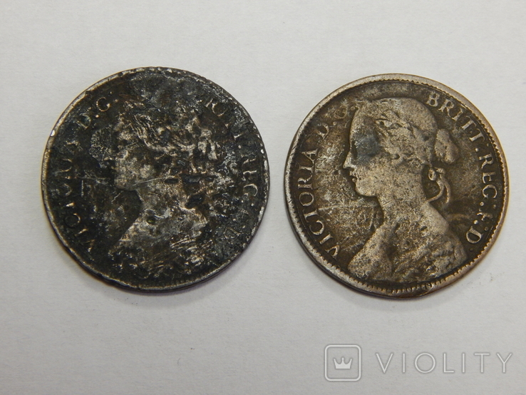2 монеты по 1 фартингу, Великобритания, фото №3