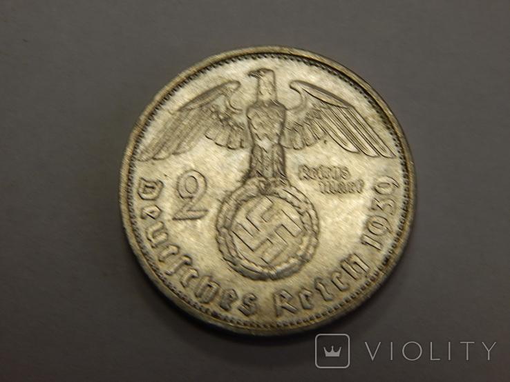 2 рейхсмарки, 1939 F Третий Рейх, фото №2