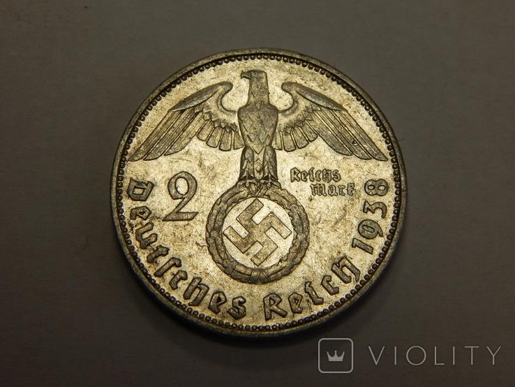 2 рейхсмарки, 1938 F Третий Рейх, фото №2