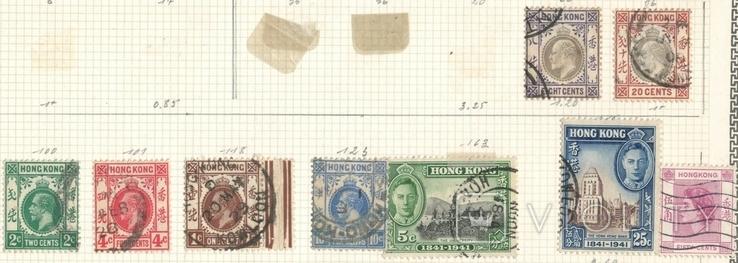058а Британские колонии. Гонконг 1900-50-е гг, 9 марок на наклейках