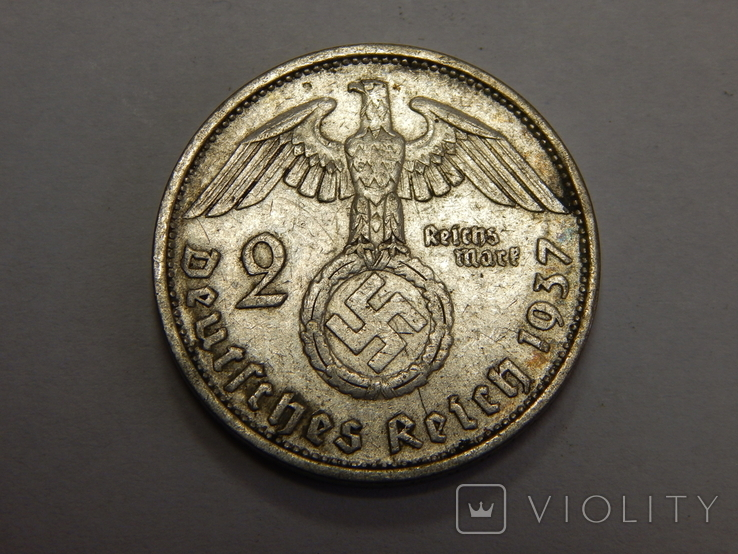 2 рейхсмарки, 1937 F Третий Рейх, фото №2